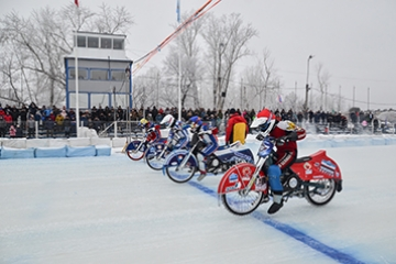 Полуфинал личного чемпионата России по мотогонкам на льду. 2 день